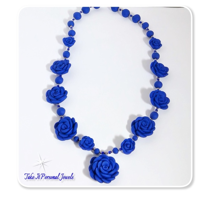 Flower Necklace Royal Blue Handmade Matching Earrings Floral Fimo Clay