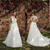Summer Bohemian Wedding Dresses A Line Deep V Neck Backless Lace Chiffon Long