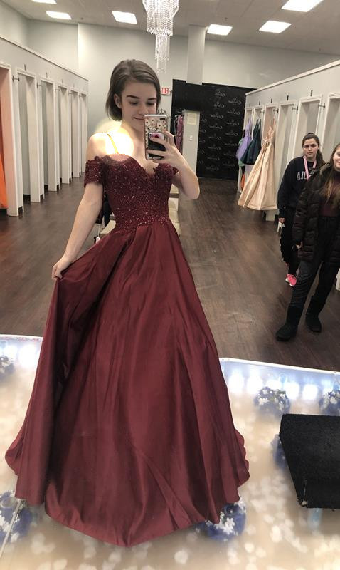 Off The Shoulder,A-Line  Prom Dresses,Long Prom Dresses,Cheap Prom Dresses,