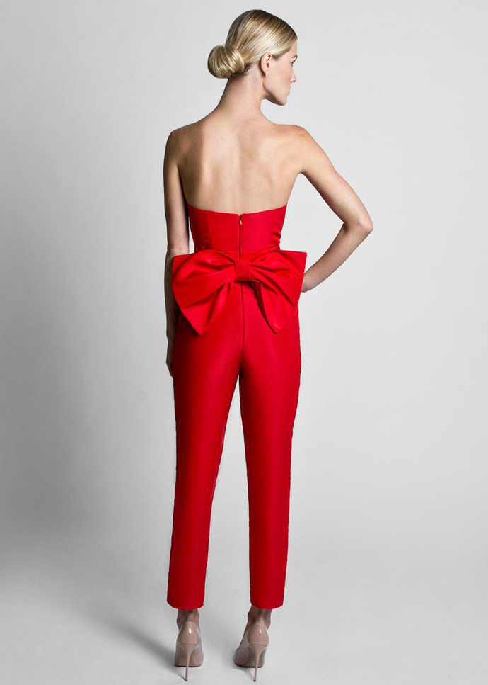 Red Jumpsuits Formal Evening Dresses With Detachable Skirt Sweetheart Prom
