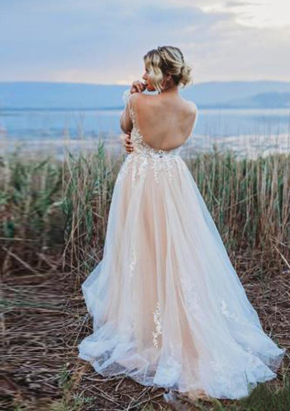 Champagne Bohemian Wedding Dresses 2020 New Summer Spring Garden Beach Boho