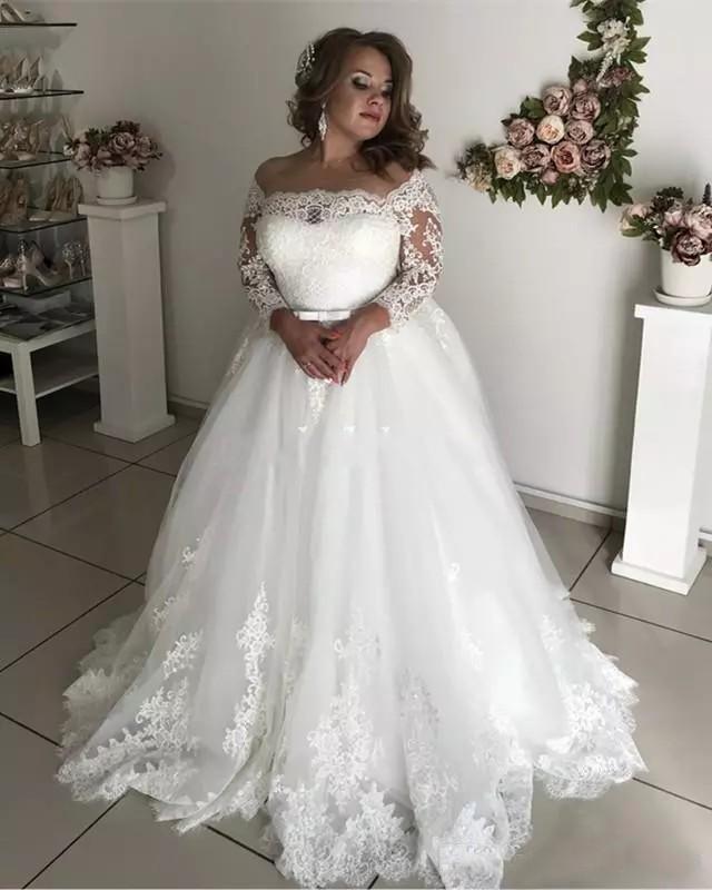 2020 Modest Plus Size Wedding Dresses Sheer Neck 3 4 Long Sleeve Appliques