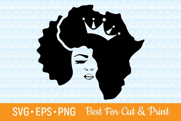 Afro svg, Black Queen svg, Afro Girl svg, Melanin svg, Afro Lady svg, Africa