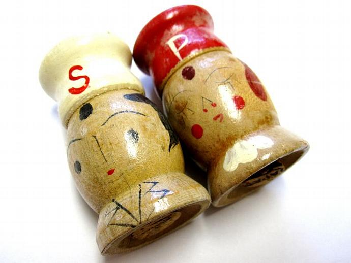 Mr & Mrs Chef Turned Wood Salt And Pepper Shakers
