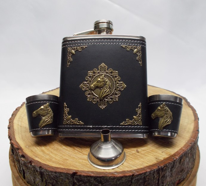 Hip Flask Set with Funnel and Designed Shot Cups Horse Head Stainless Steel