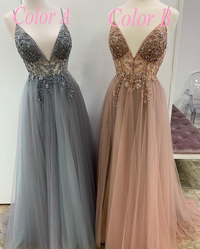 Sparkly Prom Dresses Aline Spaghetti Straps Long Grey Prom Dress Fashion Evening
