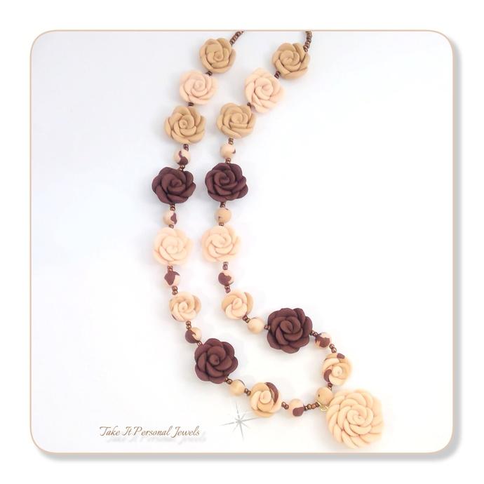 Flower Jewelry Set Natural tones Necklace Bracelet Earrings Handmade Gift Sets