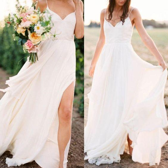 2020 White Wedding Dress Casual  Straps V Neck Side Slit Simple Beach Wedding