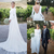 2020 Simple Plain Long Sleeve Wedding Dresses Bateau Backless Sweep Train