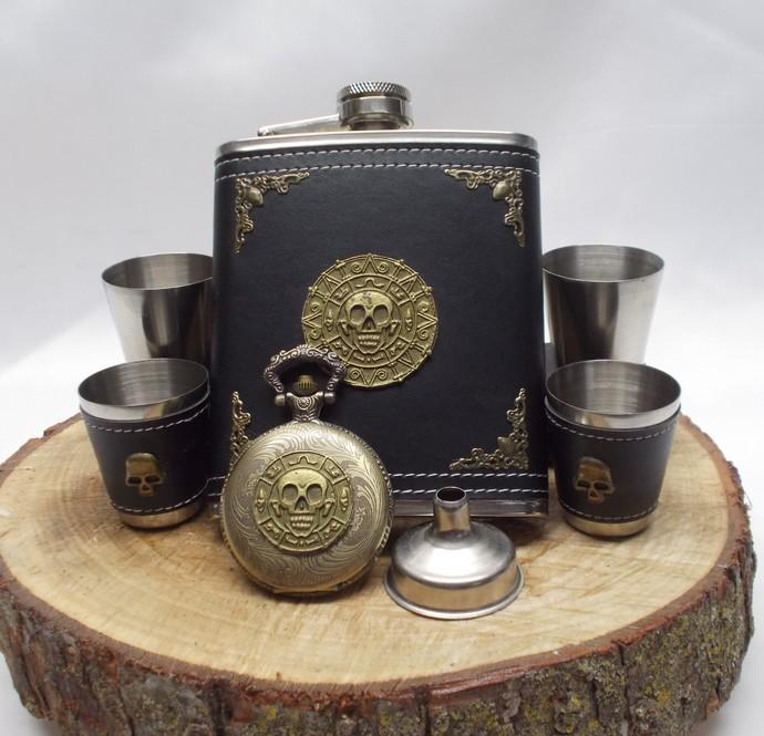Flask Set and Pocket Watch Stainless Steel Aztec Skull Artisan Design Black