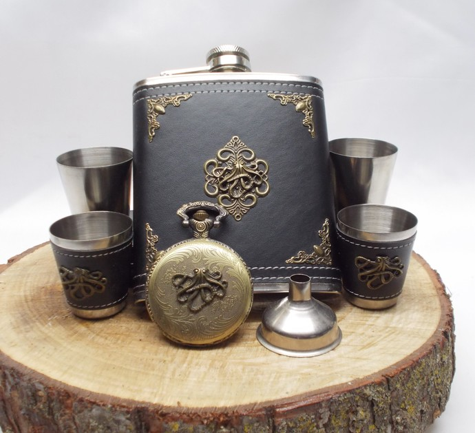 Flask Set and Pocket Watch Stainless Steel Octopus Artisan Design Black Bronze