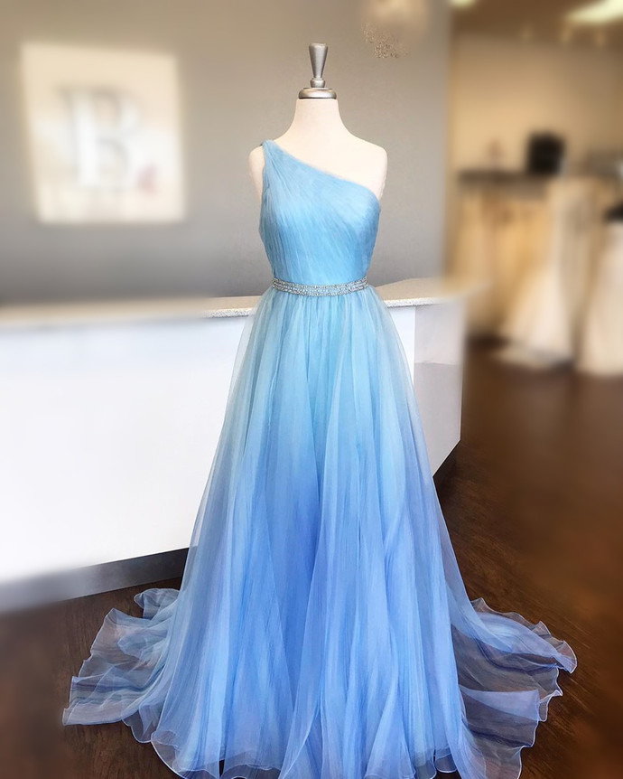 Blue Prom Dress,Tulle Prom Gown,A-Line Evening Dress,One-Shoulder Prom Gown 0114
