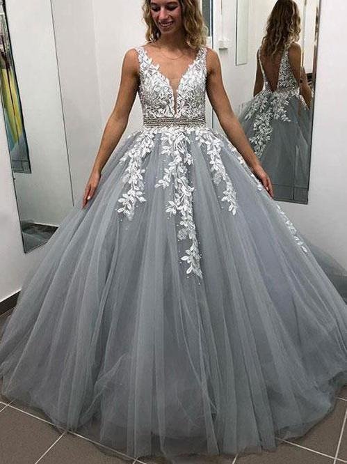 Open Back Prom Dresses with Straps Aline V Neck Appliques Grey Long Prom Dress