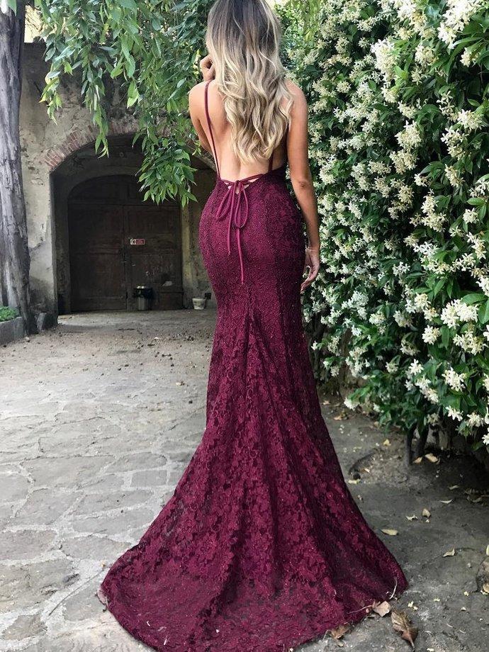 Sexy Prom Dresses Spaghetti Straps Lace Trumpet/Mermaid Prom Dress/Evening