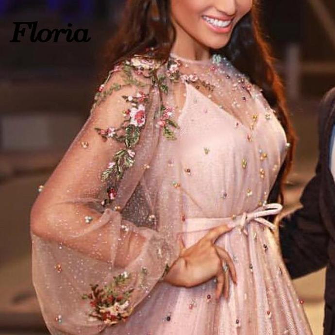 Beading Long Sleeve Prom Dresses Floor-length Sparkly Beading Long Prom Dress