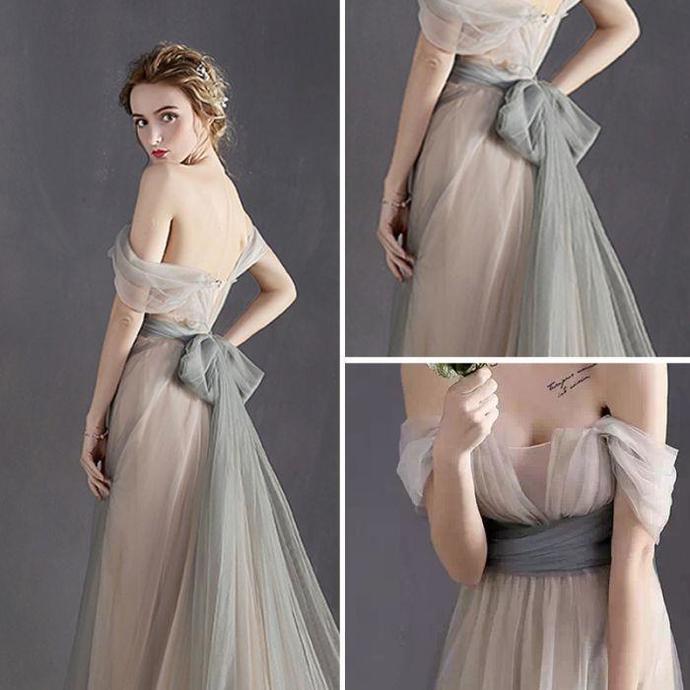 Fairy Prom Dresses A-line Floor-length Bowknot Sexy Prom Dress/Evening Dress