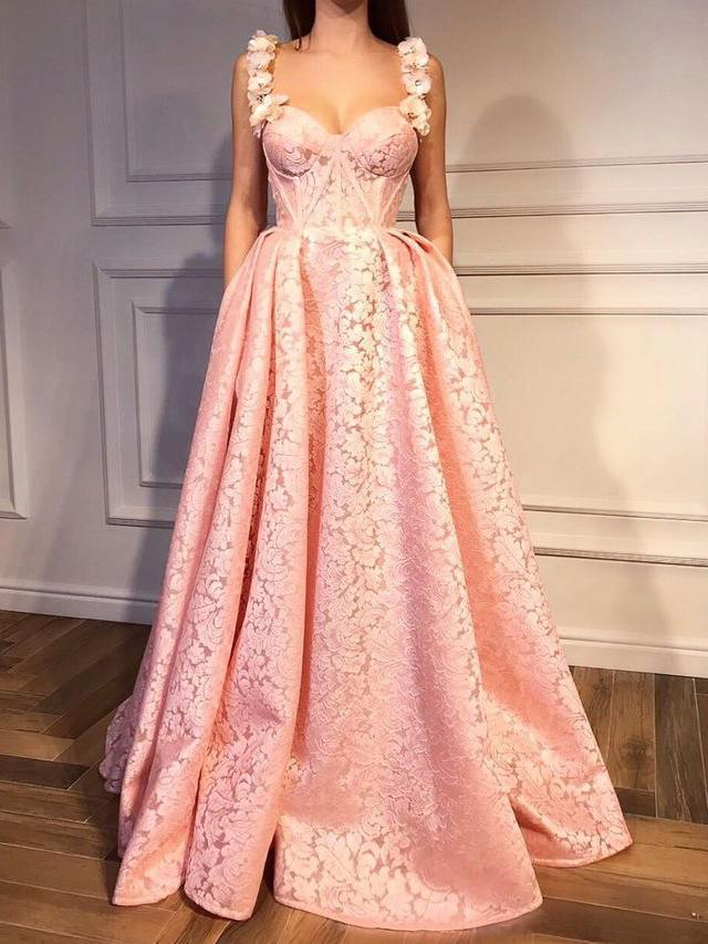 Pink Prom Dresses Straps A-line Floor-length Sexy Luxury Prom Dress  T4717