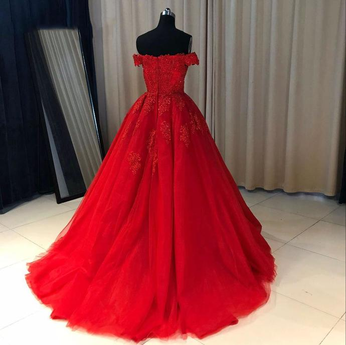 Ball Cown Prom Dresses Off-the-shoulder Sweep Train Long Red Prom Dress  T4719