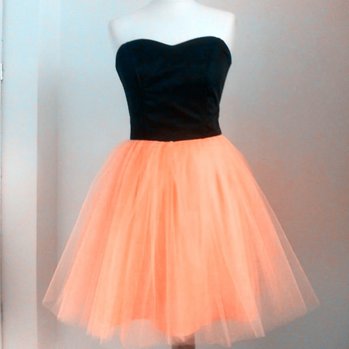 Strapless Tulle Short Homecoming Dress, Princess A Line Prom Gown