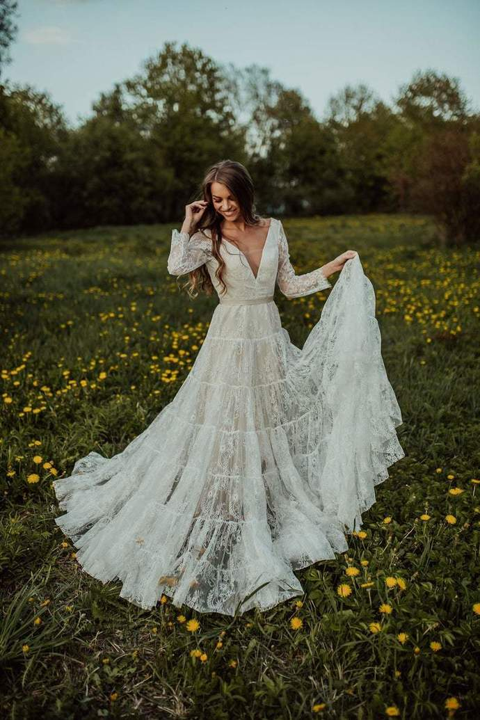Exquisite Lace Sexy Deep V Neck Bohemian Wedding Dress Long Sleeve Rustic