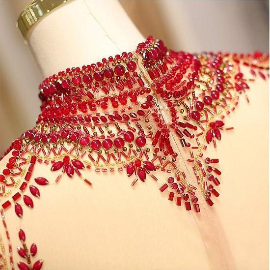 Long Sleeve Prom Dresses High Neck Burgundy Long Prom Dress Satin Evening Dress