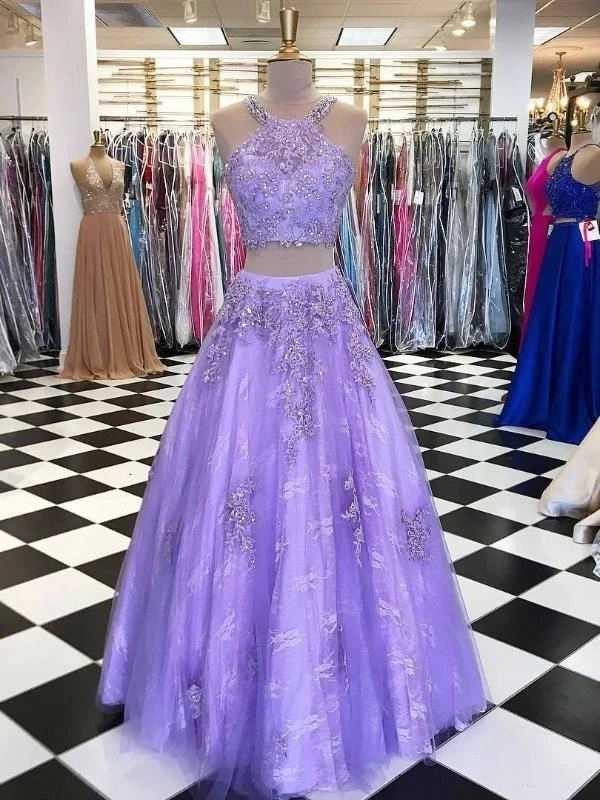Two Piece Prom Dresses Halter Aline Tulle Long Chic Lace Lilac Prom Dress T4729