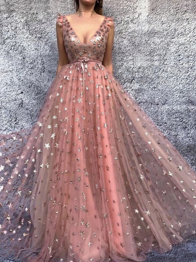 Sparkly Prom Dresses V-neck Stars Long Sexy Beautiful Prom Dress  T4730