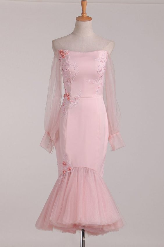 Long Sleeves Mermaid Satin & Tulle Homecoming Dresses With Applique And Handmade