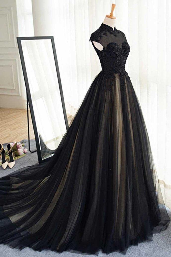 Black Prom Dresses High Neck Sweep/Brush Train Rhinestone Prom Dress/Evening