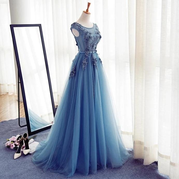 Prom Dresses Scoop A-line Appliques Long Prom Dress/Evening Dress T4732