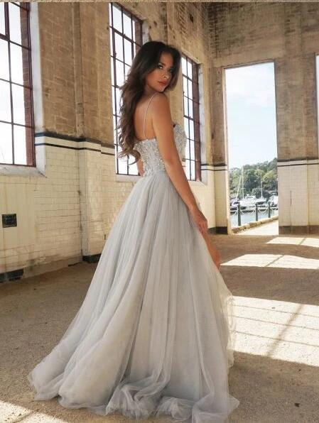 Chic Silver Prom Dresses Spaghetti Straps A-line Long Prom Dress/Evening Dress