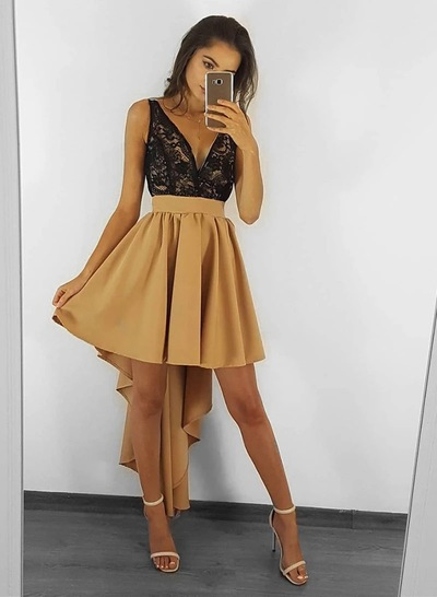 Sexy High Low Prom Dresses, Lace Homecoming Dresses