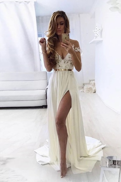 Sexy Off the Shoulder A Line Prom Dresses, Split Slit Chiffon Appliques Evening