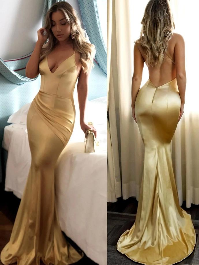 Mermaid Prom Dresses Short Train Spaghetti Straps Long Sexy Gold Prom Dress