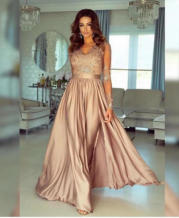 A-line V neck Long Sleeve Prom Dresses Lace Formal Gowns T4738