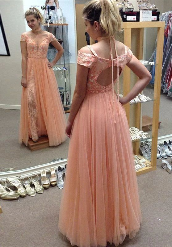 A-Line Cold Shoulder Open Back Coral Tulle Prom Dress with Appliques