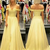 Sexy Off the Shoulder Yellow A Line Prom Dresses, Formal Long Evening Dresses