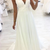 Deep V neck White A Line Prom Dresses, Sexy Sleeveless Long Evening Dresses