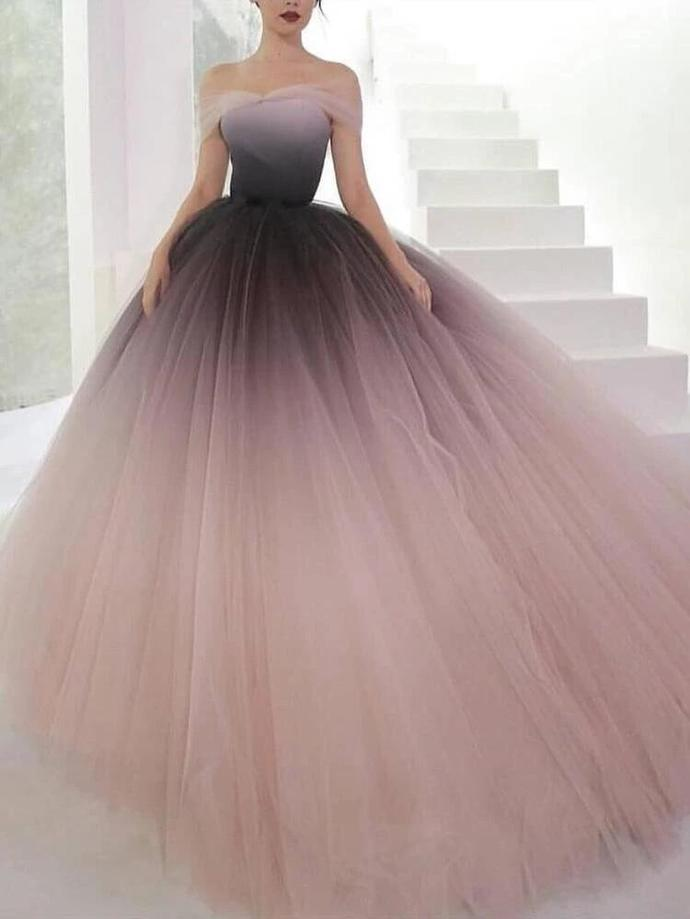 Off-the-shoulder Ombre Prom Dresses Unique Prom Dress Long Evening Dresses