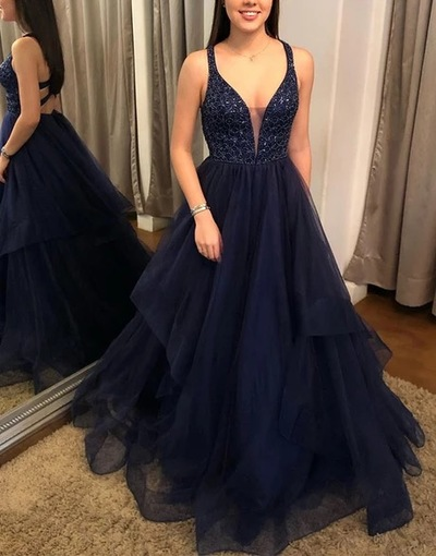 Charming V neck Tulle Prom Dresses, Navy Blue Long Evening Dresses