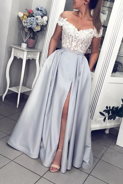 Floor Length A Line Prom Dresses, Off the Shoulder Appliques Long Evening