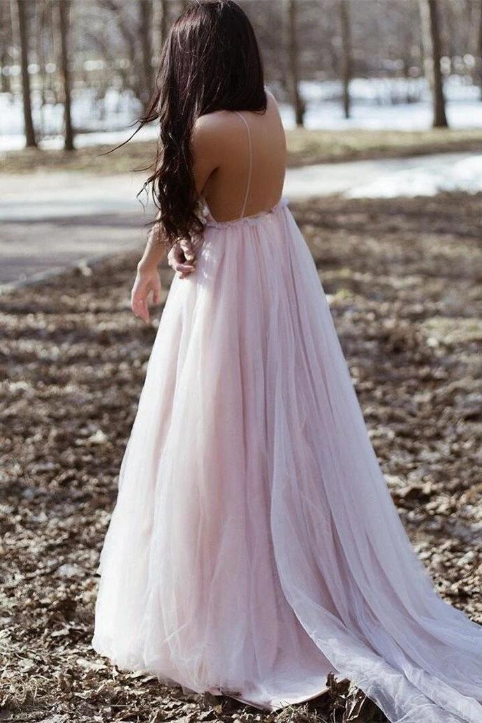 Romantic Spaghetti Straps Long Formal Dress with Handmade Flowers T4743