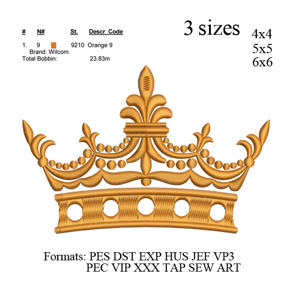 Crown embroidery machine, Crown embroidery design embroidery pattern No 699 v2
