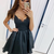 Sexy Straps Black Tulle Short Homecoming Dress, Lace Party Gown