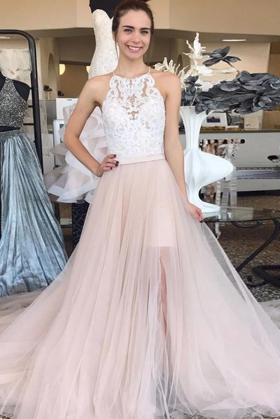 Sleeveless Light Pink Prom Dresses, Appliques Lace Long Evening Dresses, Wedding