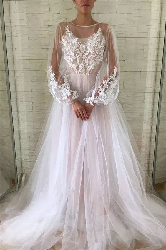See Through Long Sleeve Ivory Lace Appliques Prom Dresses