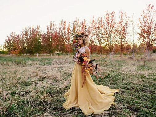 Chic Yellow Wedding Dresses Two Pieces A-line Long Country Wedding Dress With