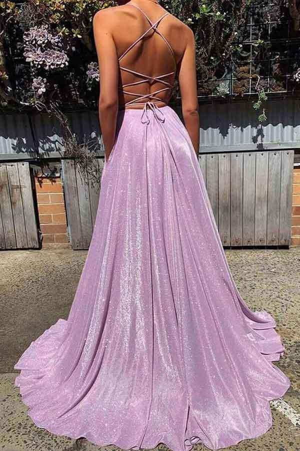 Backless Prom Dresses Spaghetti Straps Aline Sparkly Lilac Prom Dress Fashion