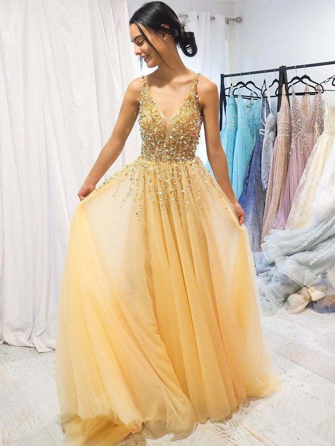 A-line V neck Yellow Sparkly Long Prom Dresses Gorgeous Formal Dresses T4750
