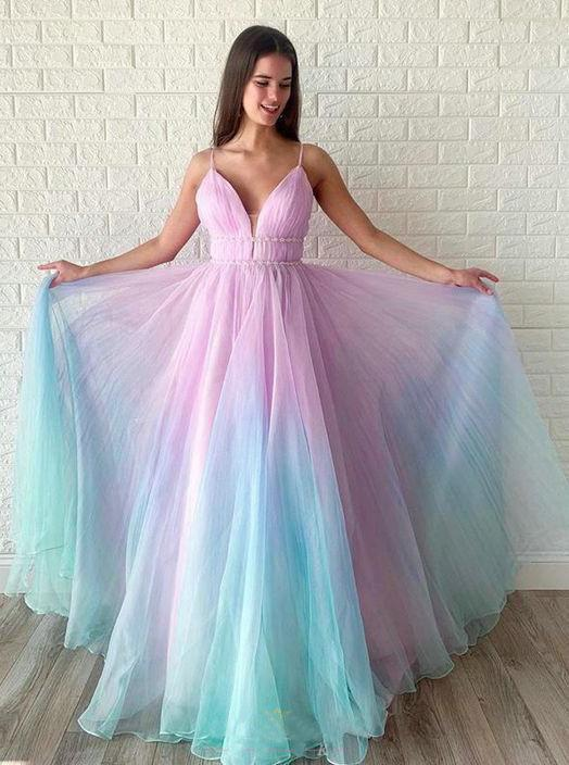 A Line Spagheeti Straps Gradient Chiffon Long Prom Dresses Floor Length
